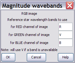 Dialogue for setting wavebands to estimate