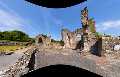 Flattened view of St Dogmael's Abbey, Cardigan, Wales