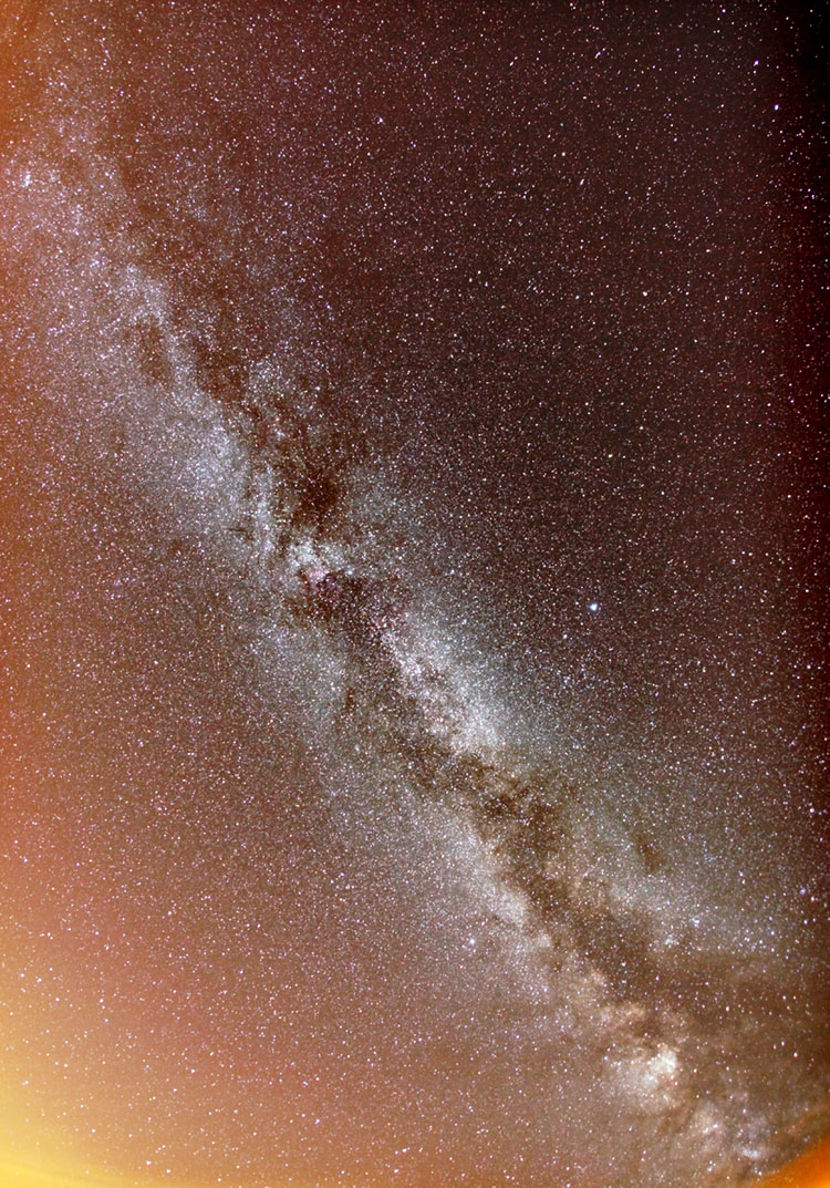 Fish-eye view of the whole sky, showing the Milky Way