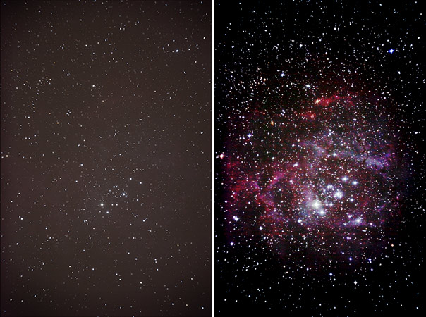 Comparison photos of NGC2244 and the Rosette Nebula